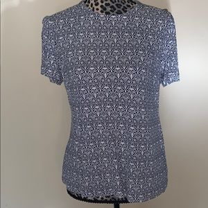 TORY BURCH blue & white short sleeve top size: Med